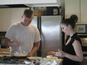 Ryan & Laura preparing batter